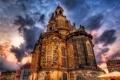 Картинка небо, облака, пейзаж, тучи, дома, Дрезден, hdr
