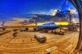 Картинка самолеты, аэропорт, небо, иллюминатор, облака
