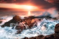 Картинка закат, облака, скалы, небо, California, природа, море