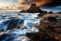 Картинка закат, камни, туча, берег, волны, море