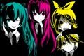 Картинка девушки, наушники, арт, парень, vocaloid, hatsune miku, бант