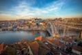 Картинка мост, город, огни, река, утро, Portugal, Porto
