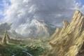 Картинка зелень, горы, птицы, город, река, фантастика, скалы