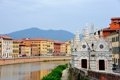 Картинка небо, горы, река, дома, Италия, Пиза