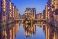Картинка Гамбург, дома, мост, канал, Германия, огни
