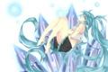 Картинка девушка, волосы, арт, кристаллы, форма, vocaloid, hatsune miku
