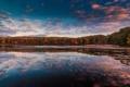 Картинка осень, небо, вода, облака, отражения, деревья, Нью Йорк