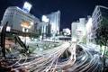 Картинка ночь, город, огни, движение, выдержка, Япония, Токио
