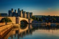 Картинка река, графство Конуи, Conwy Castle, башни, мост, Великобритания