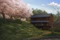 Картинка пейзаж, дом, дерево, весна, сакура, арт, дорожка