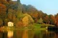 Картинка осень, лес, вода, мост, пруд, река, листва