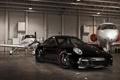 Картинка чёрный, 997, Porsche, ангар, порше, black, Turbo
