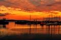 Картинка небо, облака, закат, корабль, яхта, гавань
