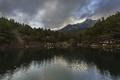 Картинка лес, горы, тучи, озеро, Испания