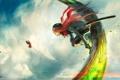 Картинка небо, девушка, бабочка, меч, катана, арт, шлем