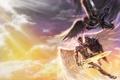 Картинка солнце, облака, оружие, крылья, меч, ангелы, арт