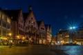Картинка ночь, огни, дома, Германия, площадь, Франкфурт-на-Майне, Рёмерберг