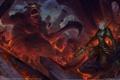 Картинка огонь, монстр, бой, эльфийка, хаос, воительница, войско