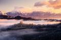 Картинка зима, горы, утро, Словения