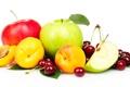 Картинка яблоки, фрукты, персики, черешня