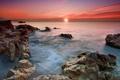 Картинка закат, камни, небо, птицы, море