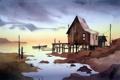 Картинка море, дом, акварель
