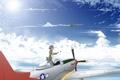 Картинка небо, облака, истребитель, птички, неко, ушки, самолёты