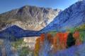 Картинка осень, небо, деревья, горы, озеро, Калифорния, США