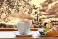 Картинка Париж, кофе, завтрак, Paris, cathedral, France, Notre Dame