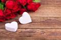 Картинка цветы, розы, букет, сердца, сердечки, красные, белые