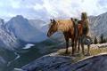 Картинка горы, лошадь, мужик, Ковбой, дикий запад