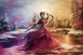 Картинка лес, девушка, озеро, лепестки, платье, Mara
