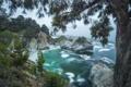 Картинка море, пляж, дерево, скалы, водопад