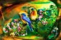 Картинка арт, ветка, птицы, цветы