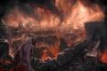 Картинка огонь, город, пожар, люди, дракон