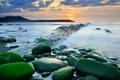 Картинка море, небо, вода, камни, выдержка