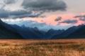 Картинка поле, небо, облака, горы, долина, новая зеландия
