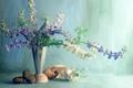Картинка галька, стена, Цветы, букет, ваза, ракушки