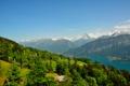 Картинка деревья, горы, река, Швейцария, домики, Beatenberg