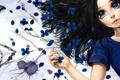 Картинка слезы, арт, фон, minami haruya, девушка, синие, цветы