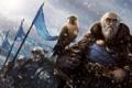 Картинка снег, горы, ветер, птица, армия, арт, старик