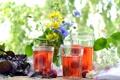 Картинка лето, цветы, клубника, стаканы, напиток, компот
