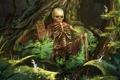 Картинка красный, табличка, арт, кости, плащ, лес. скелет