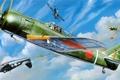 Картинка небо, самолет, картина, истребитель, пилотаж
