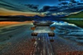 Картинка небо, пейзаж, закат, природа, озеро, лодки, Деревья