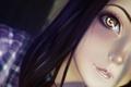 Картинка девушка, лицо, глаз, волосы, портрет, арт, губы