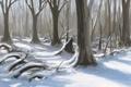 Картинка лес, тени, деревья, природа, арт, снег, зима