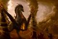 Картинка воины, colossus. колосс, фантастика, ветер, щит, арт, оружие