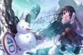 Картинка зима, снег, город, знак, аниме, девочка, снеговик