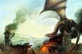 Картинка огонь, mohammad javadi, дым, дракон, замок, армия, разрушение
